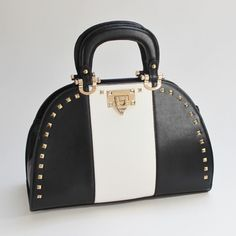 Lizzy Studded Bowler Bag in Black Color Block Mimi Boutique, La Petite Boutique, Butterflies Flying, Cute Handbags, Cute Bags, Hermes Kelly, Style Me, Satchel, Butterfly