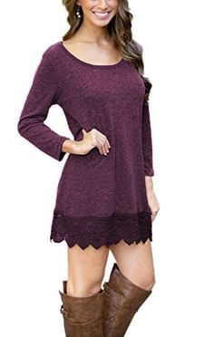 c2bd11cc513fe Match Women s Long Sleeve Lace Loose Stitching Trim Casual Dress   Trust  me