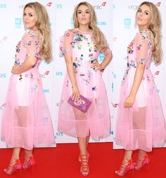 """Tallia Storm was pretty in pink, selecting an ASOS tulle dress and Carvela """"Gabriel"""" sandals to wear at We Day 2016."""