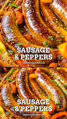Sweet Sausage Recipes, Sausage Crockpot Recipes, Sausage Recipes For Dinner, Italian Sausage Recipes, Pork Recipes, Cooking Recipes, Crockpot Sausage And Peppers, Recipes With Sweet Peppers, Roasted Italian Sausage