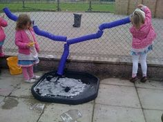 Builder's trays work well as artificial puddles. Animal tubes make great water wall attachments as they are so flexible