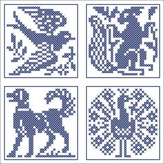 Small animal squares: swallow, squirrel, dog, and peacock | Chart for cross stitch or filet crochet.