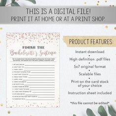 """PRODUCT #810: """"Finish the Bachelorette's Sentence - Rose Gold Confettis""""This listing is for a high-resolution printable bridal shower game.* Please take note that this game cannot be edited *THIS LISTING IS FOR A DIGITAL DOWNLOAD ONLY: Read about Etsy instant downloads here: more bridal shower games and bachelorette party games, visit our homepage to view our collections: YO Lingerie Shower Gift, Printable Bridal Shower Games, Bachelorette Party Games, Gold Confetti, Sentences, It Is Finished, Rose Gold, Printables, Collections"""