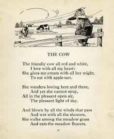 Robert Louis Stevenson, cow poem, vintage cow clip art, farm boy image, black and white clipart child