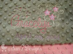 "Custom designed personalized baby blankets at www.sun7designs.com ""Like"" us on Facebook for specials and giveaways at www.facebook.com/sun7designs Ships worldwide!"