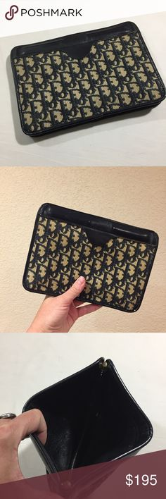 Christian Dior vintage leather tapestry clutch Christian Dior vintage leather tapestry clutch excellent preloved condition Christian Dior Bags