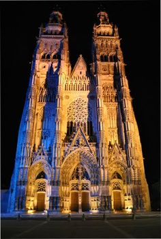 Tours Cathedral,  France. The cathedral at Tours is an example of the Flamboyant Gothic style of the 15th century with its intricate façade. It was completed in 1547. It  also has some of the most stunning examples of medieval stained glass windows in the entire world
