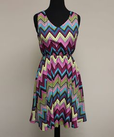 This Magenta & Olive Zigzag Sleeveless Dress by Fuchhi Style is perfect! #zulilyfinds