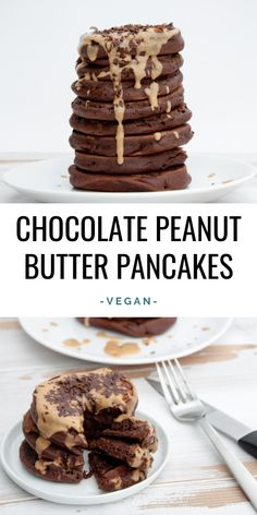 Recipe for fluffy Vegan Chocolate Peanut Butter Pancakes. Chocolate Pancakes topped with Peanut Butter Sauce and Shaved Chocolate. Peanut Butter Pancakes, Chocolate Pancakes, Vegan Pancakes, Pancakes Easy, Chocolate Peanuts, Vegan Chocolate, Chocolate Peanut Butter, Nutter Butter, Delicious Chocolate