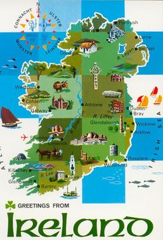 ireland landscape | the unique beauty of ireland landscape and its rich historic. Carte Illustrée de l'Irlande.
