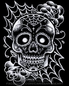 Black and White Sugar Skull Tattoo Flash by misscarissarose.deviantart.com on @deviantART