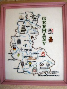 Germany Cross Stitch - for scrapbook Cross Stitching, Cross Stitch Embroidery, State Crafts, Blackwork Patterns, Cross Stitch Letters, Diy Arts And Crafts, Plastic Canvas Patterns, Crossstitch, Needlepoint