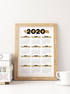 Gold printable calendar 2020 wall calendar, year at a glance desk calendar, 2020 annual calendar 2020 planner yearly calendar Printable Calendar 2020, Yearly Calendar, Printable Planner, Printables, At A Glance, Desk Calendars, Gift Guide, Card Stock, Etsy Seller