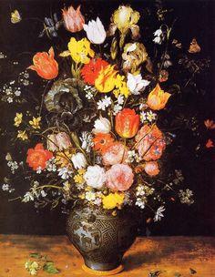 """""""Bouquet of Flowers in a Blue Vase""""  Jan Bruegel the Elder"""