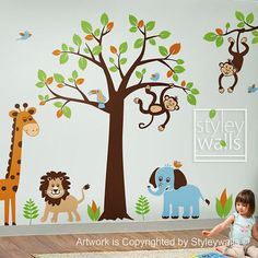 Safari Jungle Animals Vinyl Wall Decal Stickers - for a Nursery, Kid's room or Playroom