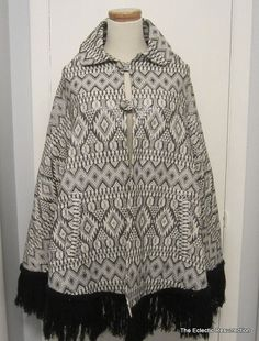 Vintage 1970s Cape Metallic Black & White Hand Made by linbot1, $50.00