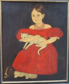 "Just discovered, fresh to the market wonderful lg 33 1/2"" x 27 3/4"" o/c folk art portrait of a young girl in red dress seated in a chair, holding a cat on her lap w a dog at her feet strongly reminiscent of Ammi Phillips work (1788-1865) ca 1820's-30's. This painting on canvas seems to be slightly cut down (evidence of old stretcher impression on left side & bottom, but not on right side & top) & laid on a piece of masonite."