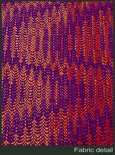 fabric detail Flowing Curves: Network Drafted Twill by Bonnie Inouye on August… Weaving Designs, Weaving Projects, Weaving Patterns, Textiles, Loom Weaving, Hand Weaving, Painted Warp, Woven Scarves, Pattern Drafting