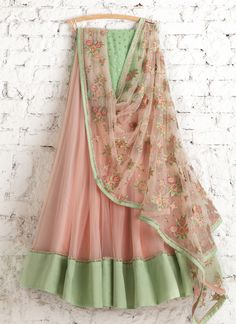 Lehengas by SwatiManish : Peach lehenga with floral dupatta