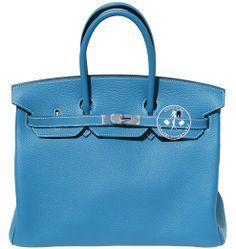 Créateurs de Luxe - 35cm Hermès Blue Jean Togo Leather Birkin Handbag - Palladium Hardware Hermès Handbags, Handbags On Sale, Blue Jeans, Palladium, Hermes Birkin, Leather, Lush, Green Jeans, Jeans