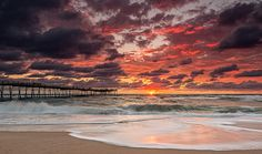 SPECTACULAR sky during a sunrise shoot in the Outer Banks. Avalon Pier, Kill Devil Hills.