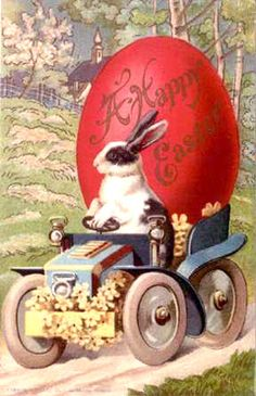 Rabbit Driving Floral Bedecked Auto in the Delivery of Giant Red Egg