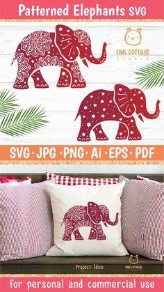Mandala Elephant, Elephant Pattern, Indian Elephant, Types Of Craft, Design Crafts, Textile Design, Cutting Files, Greeting Cards, Diy Projects