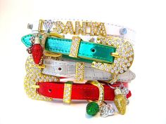 Christmas Dog Collar | I Love Santa Dog Collar | Bling Dog Collar | Gift for Dogs | 4 Color Options  | Puppy Collar