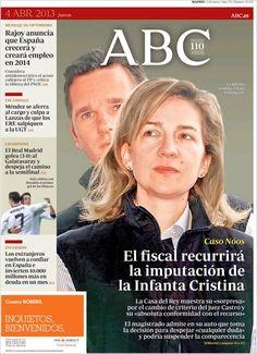 Los Titulares y Portadas de Noticias Destacadas Españolas del 4 de Abril de 2013 del Diario ABC ¿Que le parecio esta Portada de este Diario Español?