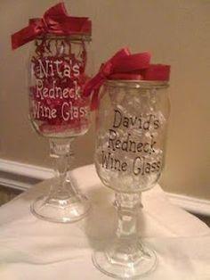 Redneck Wine Glasses Redneck Wine, Mason Jar Wine Glass, Love Craft, Tableware, Crafts, Glasses, Ideas, Products, Eyewear