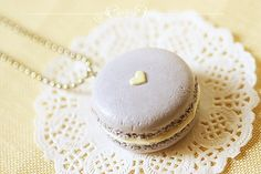 Food Jewelry Mauvey Love Macaron Necklace by miniaturepatisserie