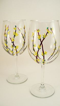 Forsythia branches yellow flowers - hand painted wine glasses - set of 2 ready to ship #EasyPin