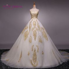 Cheap wedding gowns, Buy Quality cheap wedding gowns directly from China wedding dress sweetheart Suppliers: 2017 Real photos Ball Gown Wedding Dress Sweetheart Gold Appliques Tulle Lace-up Vestido De Noiva Cheap Wedding Gowns Gold Wedding Gowns, Sexy Wedding Dresses, Formal Evening Dresses, Cheap Wedding Dress, Bridal Dresses, Prom Dresses, Cheap Dress, Dresses 2016, Ivory Wedding