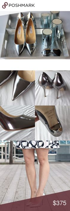 """Jimmy Choo Metallic Silver Abel Pumps •Have a metallic moment this season in Jimmy Choo's silver-heeled anthracite leather pumps.  4"""" heel. Cover shot via Pinterest   •Size EU37, true to size.  •Display shoe, like new condition. A light scuff mark on one shoe and minimal scratches near the pointed toe. Original box/tags/dust bags NOT included. A designer shoe box will be provided.  •NO TRADES/HOLDS/PAYPAL/MERC/VINTED/NONSENSE. Jimmy Choo Shoes Heels"""