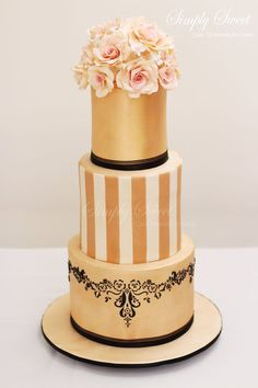 Unique Gold and Blush Hand stenciled Wedding Cake