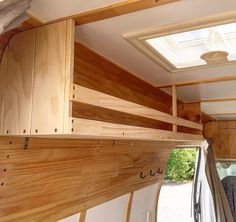 New shelf finished Anyone with a van knows how important storage space can be! New shelf finished Anyone with a van knows how important storage space can be! Van Conversion Layout, Van Conversion Interior, Camper Van Conversion Diy, Airstream Interior, Van Interior, Camper Storage, Diy Camper, Campervan Storage Ideas, Dodge Camper Van