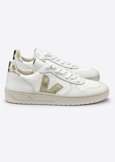 68ddd2db2793 Shop the VEJA V-10 Leather Mesh Trainers - White   Gold online at The