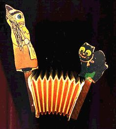 Vintage Halloween Toy ~ German Witch and Black Cat Accordion Toy