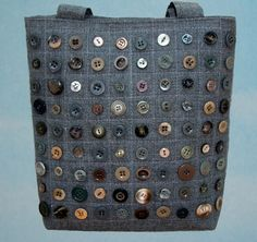 Button Handbag tote grey quilting