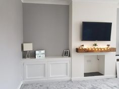 Grey and white living room alcove - alcove cabinet, tv on chimney breast , railway sleeper shelf Alcove Ideas Living Room, Living Room Grey, Interior Design Living Room, Home And Living, Living Room Designs, Living Roon, Bedroom Ideas, Snug Room, Cosy Room