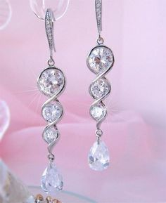 Long Wedding Earrings, Bridal Earrings, Crystal Bridal Jewellery, Wedding Jewelry, CZ Crystal by CherryHillsBridal, $39.00 USD