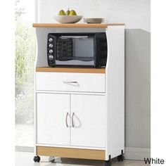 White Microwave Cart Space Saver Rolling Storage Dorm Food Kitchen Cabinet Shelf #Hodedah