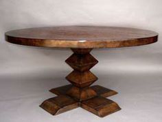 #10-2MOD1 CUSTOM PORTUGUESE PEDESTAL TABLE Available in solid Mahogany, Walnut, Oak or Alder, with a choice of different colors and ranges of distress. SHOWN HERE IN MEDIUM OAK AND MEDIUM TO HEAVY DISTRESS. - America AS SHOWN IN 60   924 N. Formosa Ave., Los Angeles, CA 90046 - Phone: (323) 851-9117 - Fax: (323) 851-2443