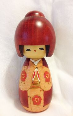 Vintage Kokeshi Doll in Red