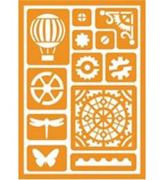 FolkArt ® Handmade Charlotte™ Peel & Stick Stencils - Industrial Shapes - butterfly, dragonfly, hot air balloon | Plaid Enterprises  available to buy in-store at major craft