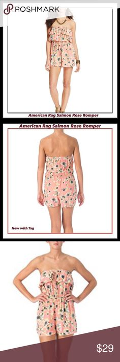 AMERICAN RAG SALMON ROSE ROMPER SZ LARGE AMERICAN RAG salmon rose Romper- NWT-SZ:Large American Rag is a fresh and approachable line offering vintage colors and prints, along with everyday denim and seasonal trends. If you want authenticity and relaxed originality, American Rag is the brand for you. This American Rag Romper is guaranteed authentic. It's crafted with 100% Rayon. Secret side pockets  100% Rayon Floral Print Strapless Drawstring , light & perfect for summer! Please ask…