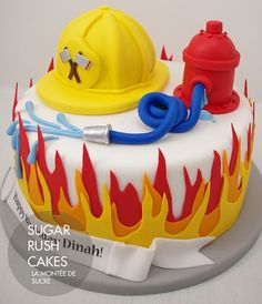 Fireman Cake - love the flames Pretty Cakes, Cute Cakes, Fondant Cakes, Cupcake Cakes, Fire Engine Cake, Fireman Sam Cake, Fire Fighter Cake, Novelty Cakes, Cakes For Boys