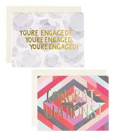 Diamond Engagement Hand-Painted Greeting Card Set by 1canoe2