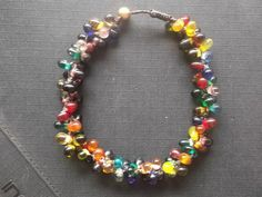 Multicolored drop tear glass beads and  wax rope summer Halloween holiday by Nannapatt, $11.00