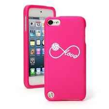 For iPod Touch 5th Gen Hot Pink Rubber Hard Case Cover Infinity Love Volleyball